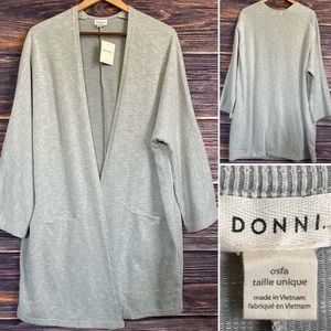 Donni. Ribbed Sandwash Long Open Cardigan